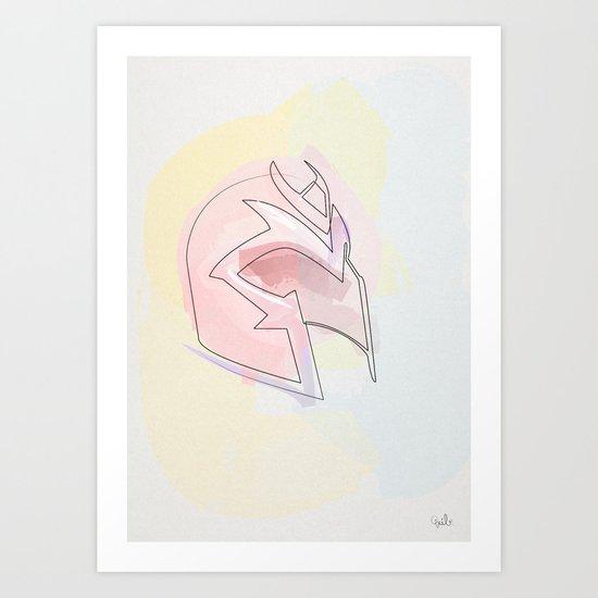 One line Magneto's helmet Art Print