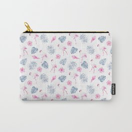 Modern watercolor blue pink tropical flamingo floral Carry-All Pouch