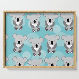 koala Seamless pattern with funny cute animal on a blue background Serving Tray