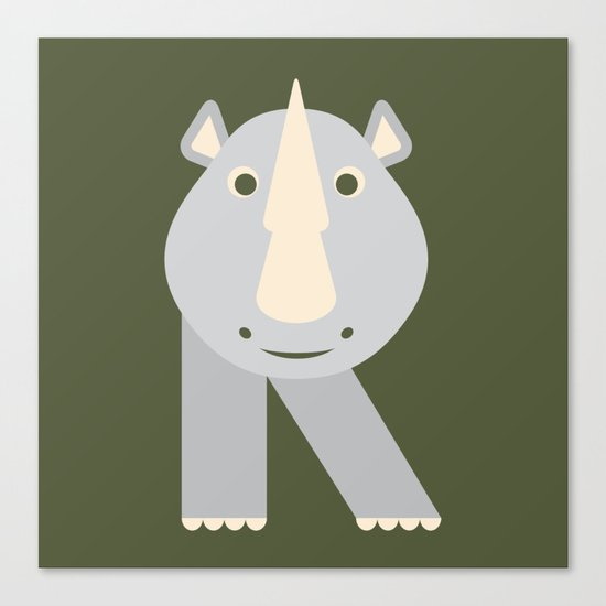 Letter R // Animal Alphabet // Rhino Monogram Canvas Print