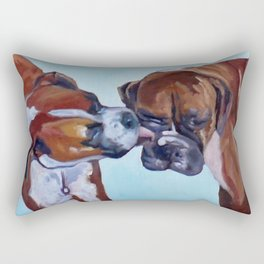 Kissing Boxers Dogs Portrait Rectangular Pillow