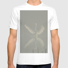 Great Egret In The Fog Mens Fitted Tee White MEDIUM