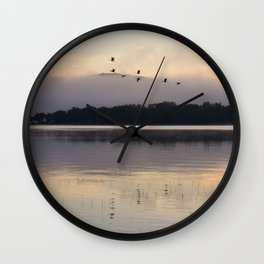 Lifting Up: Geese Rise at Dawn on Lake George Wall Clock