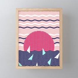 Hello Ocean Sunset Waves Framed Mini Art Print