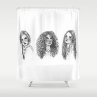hermione Shower Curtains featuring Ginny, Hermione & Luna by Susanne