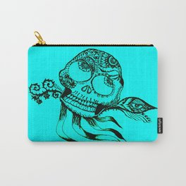 49. Henna Skull with Eye Flying in the Halloween Night as Metal Style Carry-All Pouch