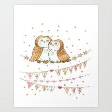 Owl Valentine Print Art Print