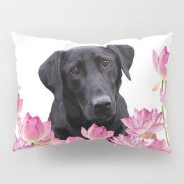 Labrador Retriever in Lotos Flower Field Pillow Sham