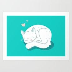 White Kitty Art Print