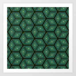 Cubed Geometrical Pattern Art Print