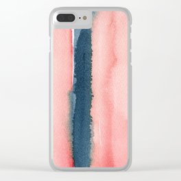 Abstract Pink Blue Print Clear iPhone Case