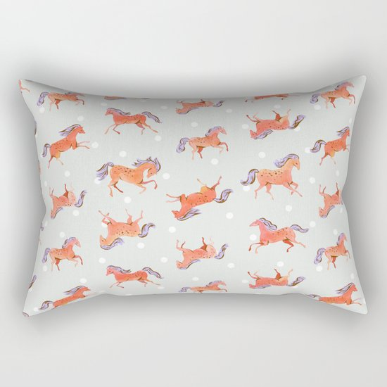 Frisky Horses Pattern Rectangular Pillow