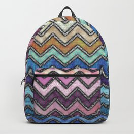 Colorful Silver Chevron Pattern Backpack