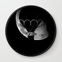 ballon Wall Clocks featuring moon ballon by MarinaGuerreiro