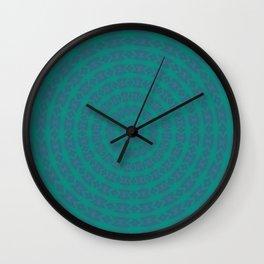 Aurora Radial Kaleidescope In Teal and Aqua Wall Clock