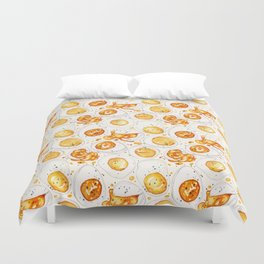 Cooked Eggs Watercolor Duvet Cover