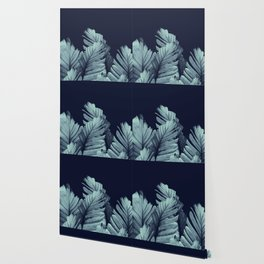 Navy Blue Banana Leaves Dream #1 #tropical #decor #art #society6 Wallpaper