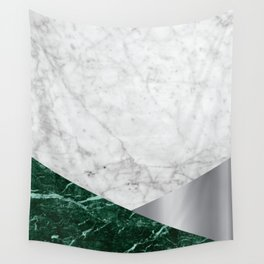 White Marble - Green Granite & Silver #999 Wall Tapestry