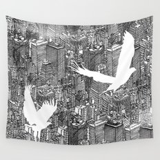 Ecotone (black & white) Wall Tapestry