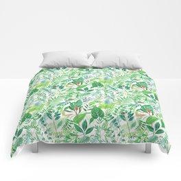 greenery watercolor pattern Comforters