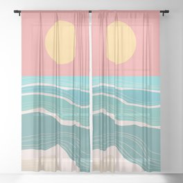 Crashing wave on sunny bay Sheer Curtain