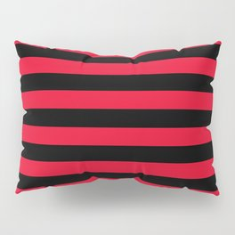 Black and Apple Red Medium Stripes Pillow Sham
