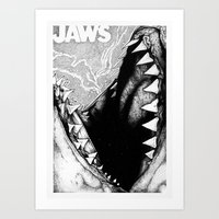 jaws Art Prints featuring Jaws by Sinpiggyhead
