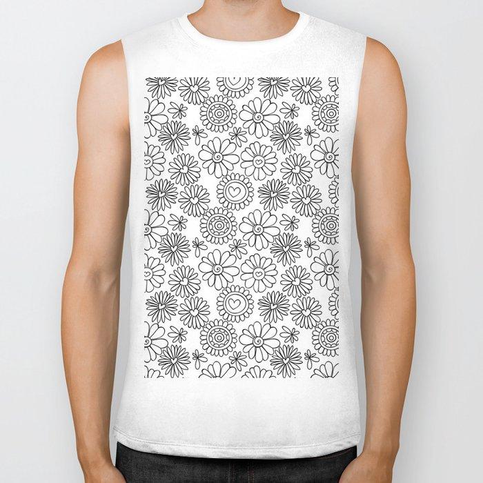 Doodle floral pattern Biker Tank