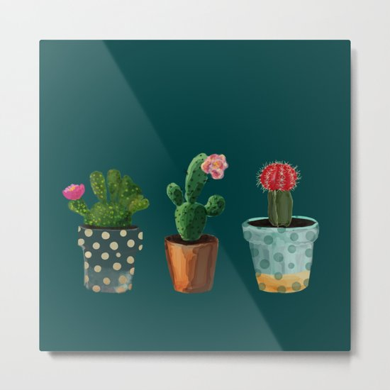 Three Cacti With Flowers On Green Background Metal Print