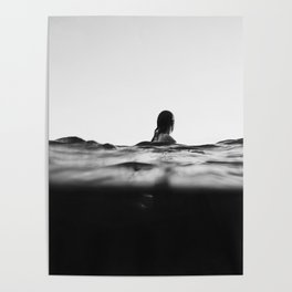 BLACK AND WHITE - OCEAN - WAVES - SEA - WATER - WOMAN Poster