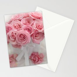 Pink Roses White Roses Shabby Chic Romantic Floral Home Decor Stationery Cards