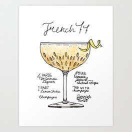 The Drink Collective: French 77 Art Print