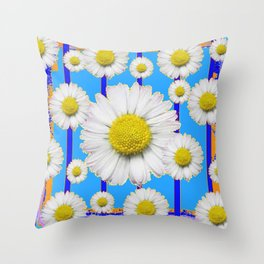 Modern Art Blue Shasta Flowers Pattern Throw Pillow