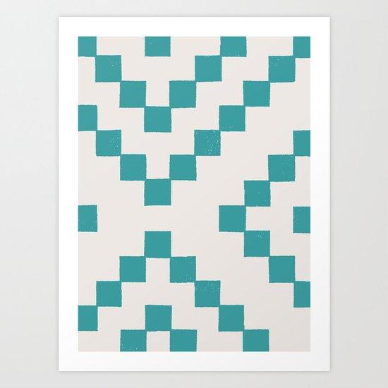 Tiles - in Teal Art Print