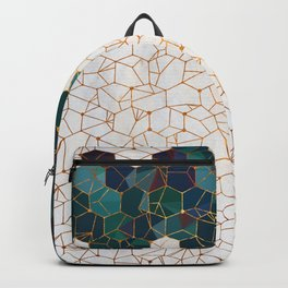 Teal and Cream Organic Hexagons Backpack