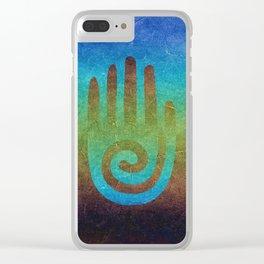 Spiral Hand Rainbow Grunge Clear iPhone Case