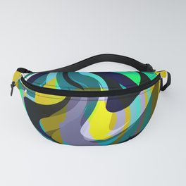 Orb, Abstract geometric Print in Blues Chartreuse & yellows Fanny Pack