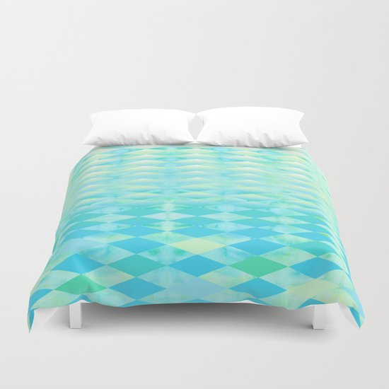 Aqua Watercolor With Ombre Harlequin Pattern Duvet Cover