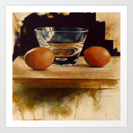 Eggs and Glass Art Print
