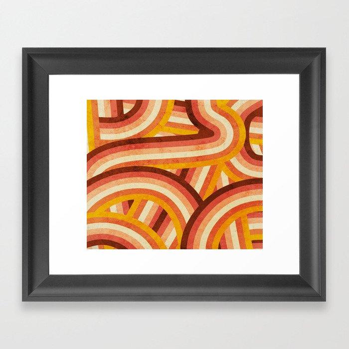 Vintage Orange 70's Style Rainbow Stripes Gerahmter Kunstdruck