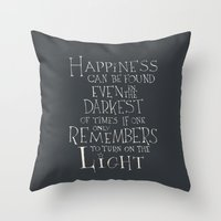 "dumbledore Throw Pillows featuring Harry Potter - Albus Dumbledore quote ""Happiness""  by SimpleSerene"
