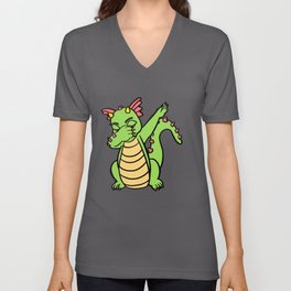 Cool Dragon Gift, Dabbing Dragon Unisex V-Neck