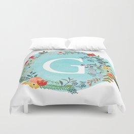 Personalized Monogram Initial Letter G Blue Watercolor Flower Wreath Artwork Duvet Cover