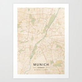 Munich, Germany - Vintage Map Art Print