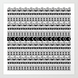 Geometrical tribal black white shapes pattern Art Print
