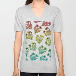 Modern abstract teal coral gradient floral cactus Unisex V-Neck