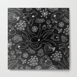Cephalopods - Black and White Metal Print