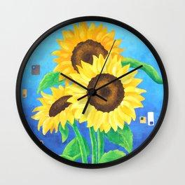 Sunflowers on Blue Wall Clock