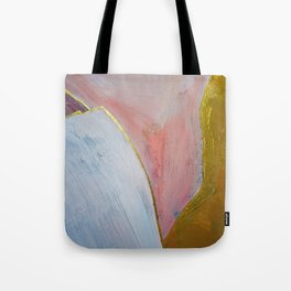 Bliss: A pretty, minimal, abstract mixed-media piece in pink white and gold by Alyssa Hamilton Art Tote Bag