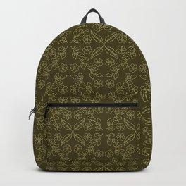 Floral leaf motif running stitch style. Backpack